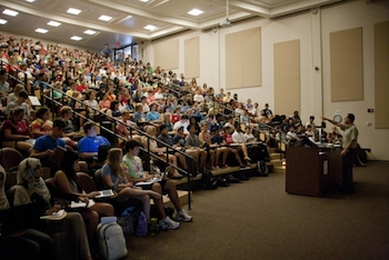 The 404 E lecture hall is filled with students on the first day Dr. Norris Armstrong's Biology class.